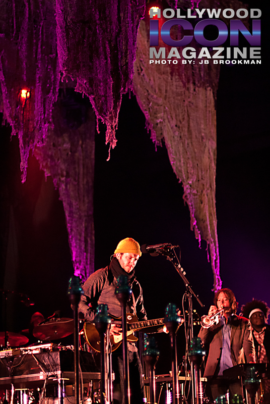 Bon Iver plays, post-Coachella, at the Santa Barbara Bowl.  Photo: JB Brookman