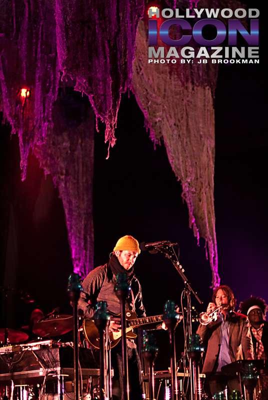 Bon Iver plays, post-Coachella, at the Santa Barbara Bowl.  Photo: JB Brookman